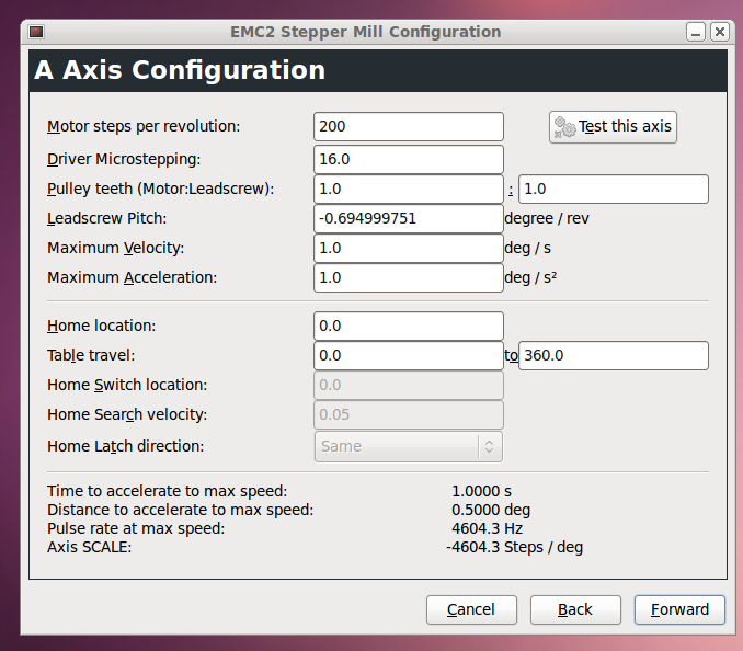 configuring the 4th axis - LinuxCNC